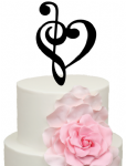 Treble Clef with Heart Cake Acrylic Topper
